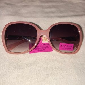 Betsey Johnson pink sunglasses floral arms NWT